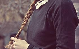 Обои волосы, руки, черная, коса, кофта