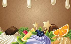 Обои шоколад, абстракция, пирожное, фрукты, сливки, сладость, ягоды