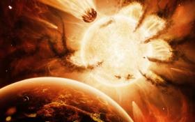 Обои солнце, планеты, рука, hand of destiny
