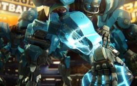 Картинка металл, игра, мяч, робот, арт, регби
