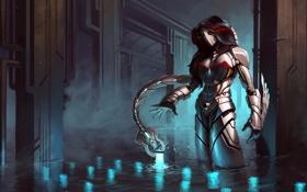 Обои вода, девушка, металл, огни, робот, арт, хвост