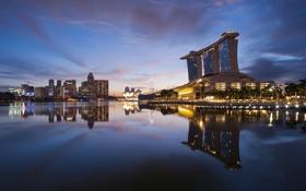 Обои облака, lights, небоскребы, вечер, Сингапур, архитектура, мегаполис