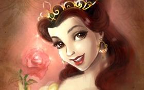 Обои улыбка, роза, платье, прическа, красавица и чудовище, белль, beauty and the beast