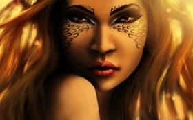 Обои лицо, leopard, makeup