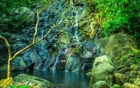 Обои зелень, камни, водопад, Таиланд, Khuekkhak