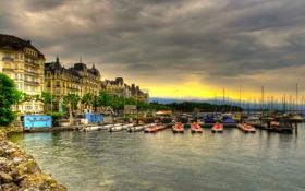 Обои дома, Швейцария, порт, архитектура, Switzerland, деревья., Женева