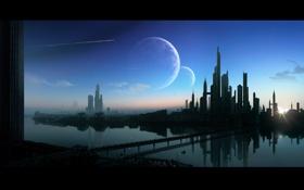 Обои город, Land Of Dogs, мост, планеты