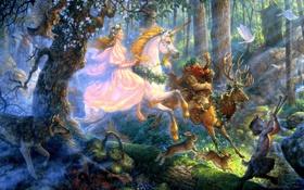 Обои лес, девушка, волк, олень, арт, единорог, голуби