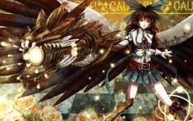 Обои девушка, оружие, магия, крылья, reiuji utsuho, touhou, art