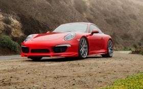 Обои 911, Porsche, порше, красная, каррера, 2015, Carrera 4S
