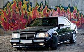 Картинка песок, граффити, mercedes, benz, black car
