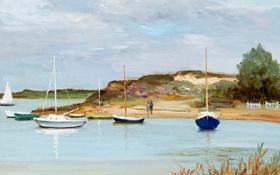 Картинка пейзаж, берег, картина, бухта, лодки, Марсель Диф, Boats at Anchor
