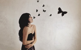 Обои girl, black, goth, levitation, butterlies
