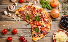 Картинка зелень, грибы, пицца, помидоры, чеснок