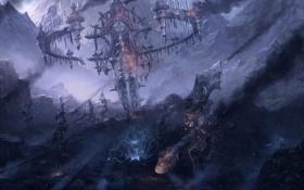 Картинка горы, камни, фантастика, башня, арт, разрушение, by chaoyuanxu