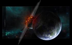 Обои планета, катастрофа, астероид