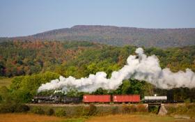 Обои осень, пейзаж, ретро, паровоз, железная дорога, steam