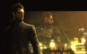 Обои дождь, игра, окно, киберпанк, human revolution, deus ex, адам дженсен