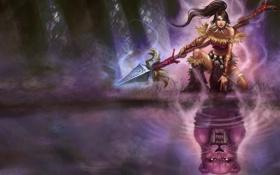 Обои лес, девушка, озеро, nidalee, отражение, League of Legends, хищник