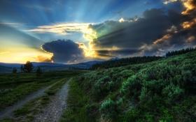 Картинка США, облака, закат, HDR, фото, лучи света, Йеллоустон