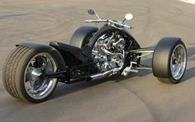Обои асфальт, чёрный, мотоциклы, матовый, трайк, хромированый