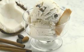 Обои еда, шоколад, кокос, печенье, орех, мороженое, корица