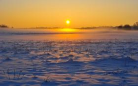 Обои небо, снег, заката