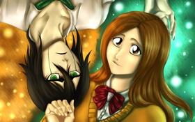 Обои взгляд, девушка, улыбка, безразличие, парень, Bleach, Блич