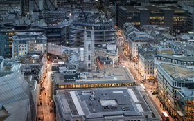 Обои Лондон, дома, Великобритания, вид сверху, улицы