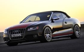 Обои Audi, Закат, Небо, Вечер, Авто, Дорога, Ауди