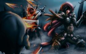 Картинка девушка, оружие, рука, арт, капюшон, Diablo 3, нежить