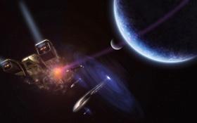 Обои свет, планета, спутник, галактика, звездолет