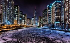 Обои Зима, Огни, Ночь, Река, Чикаго, Небоскребы, Здания