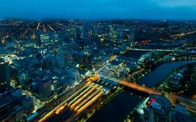Обои ночь, мост, огни, река, улица, панорама, собор