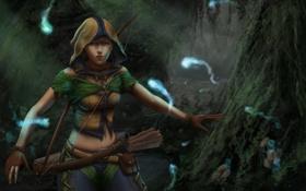 Картинка лук, Девушка, охотница, лес, духи, колчан