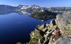 Обои горы, скала, озеро, синева, лазурь, landscape