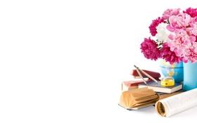 Обои карта, степлер, циркуль, книжки, глобус, ваза, цветы