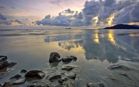 Картинка море, небо, тучи, камни, отлив