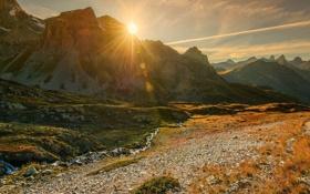 Обои река, горы, природа, солнце