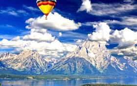 Обои небо, облака, пейзаж, горы, воздушный шар, Вайоминг, USA
