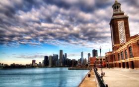 Картинка реки, набережная, небо, города, вода, страны, фото