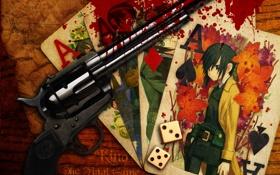 Картинка карты, пистолет, кубики, кровь, мальчик
