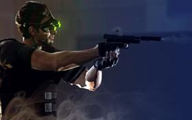 Картинка пистолет, оружие, игра, дым, выстрел, профиль, Splinter Cell