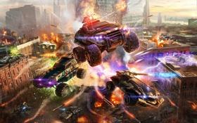 Обои город, война, взрывы, джип, танки, MWO, Metal War Online