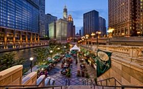 Картинка фонари, огни, небоскреб, Chicago, люди, деревья, кафе