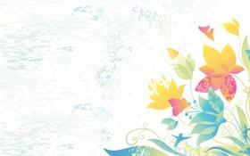 Картинка лето, цветы, настроение, рисунок, птичка, нежно