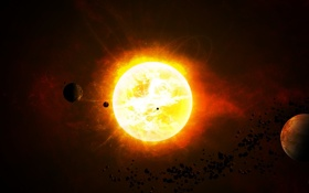 Картинка звезда, планеты, астероиды, star sistem, the bitter end