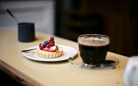 Обои стакан, ягоды, клубника, напиток, десерт