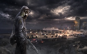 Обои здание, человек, сталкер, постапокалипсис, пустош, Nuclear Winter
