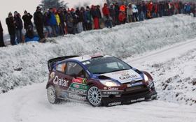 Картинка Ford, Снег, Rally, Зима, WRC, Занос, Люди
